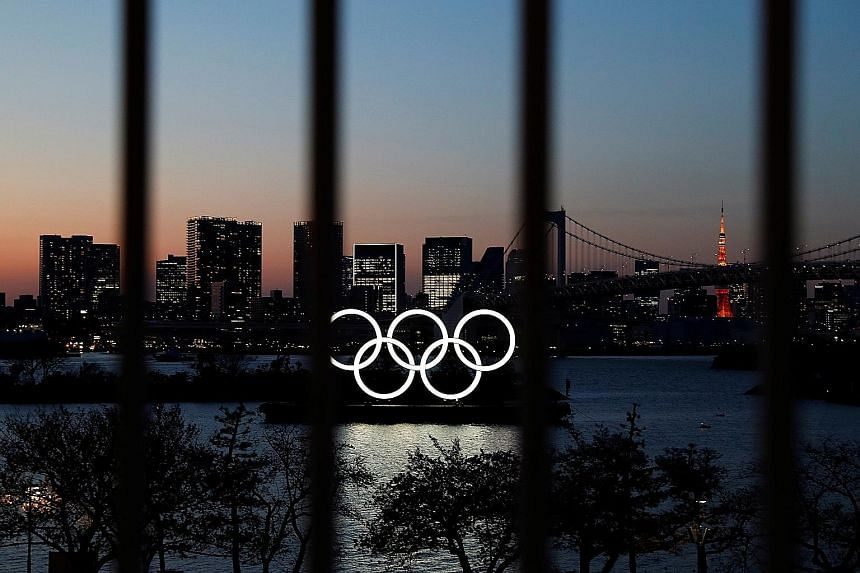The Olympic rings at the waterfront area of Odaiba Marine Park, Tokyo, last week. The Games are likely to open on July 23 next year, say sources.