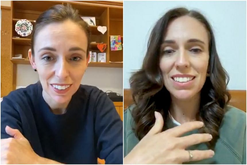New Zealand's Prime Minister Jacinda Ardern speaks in a livestreaming message to New Zealanders, in Wellington on March 28, 2020 (left) and March 25, 2020.
