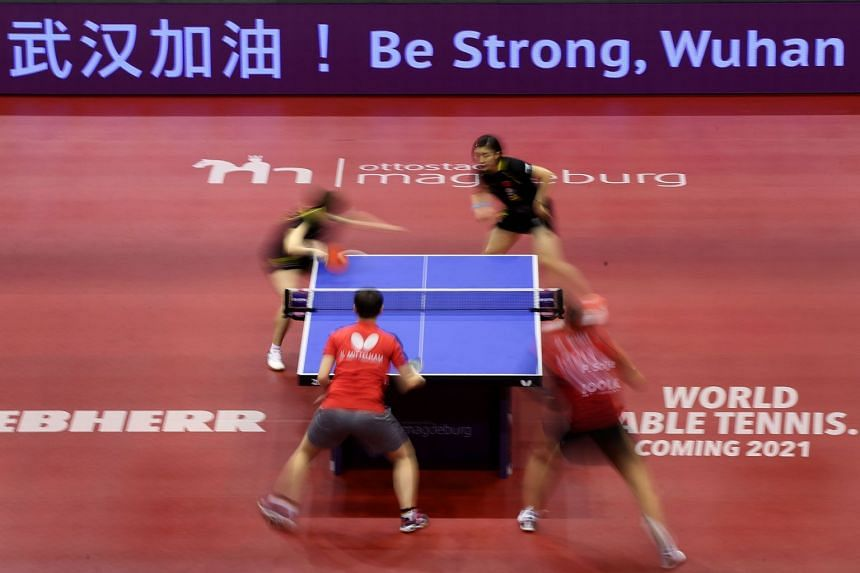 A photo taken on Jan 31, 2020, shows the women's double table tennis final match between China's Chen Meng and Wang Manyu and Germany's Nina Mittelham and Petrissa Solja at the 2020 ITTF World Tour Platinum in Magdeburg, Germany.