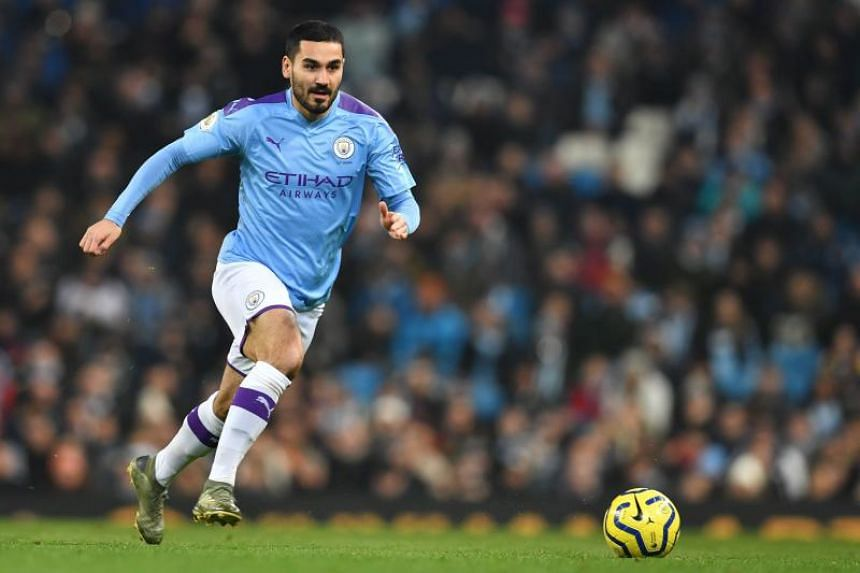 In a photo taken on Jan 1, 2020, Manchester City's German midfielder Ilkay Gundogan chases the ball during the English Premier League football match against Everton at the Etihad Stadium in Manchester, Britain.