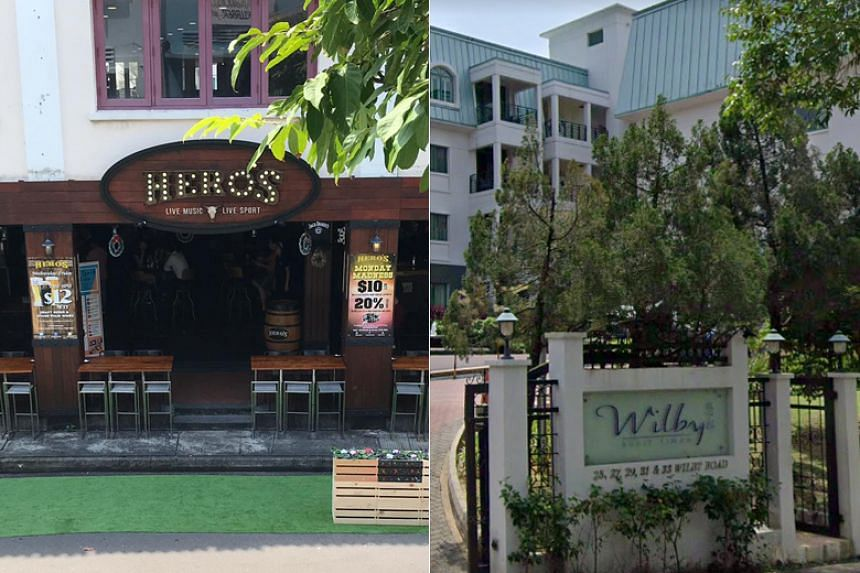 Nightspot Hero's at 69 Circular Road and serviced apartment Wilby Residences at 25 Wilby Road, two of the three new Covid-19 clusters announced on March 30, 2020.