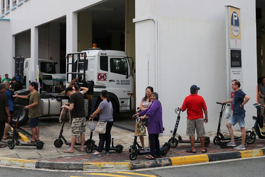 The queue at a designated disposal point for e-scooters in Jurong West on Nov 28, 2019.