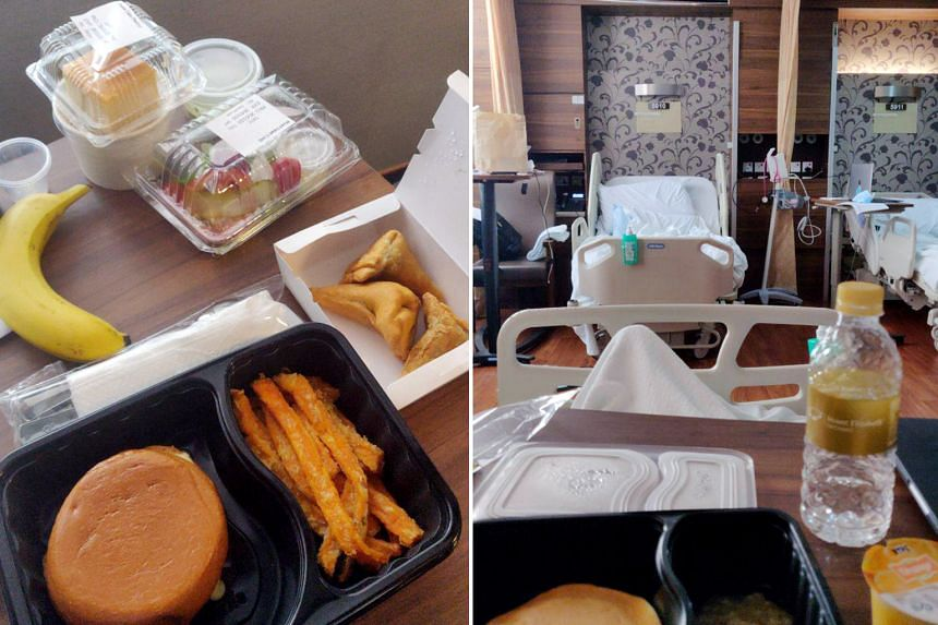 The 22-year-old Spanish student, who was warded at the National Centre for Infectious Diseases (above), believes he would never have had this level of treatment and attention anywhere else. ST FILE PHOTO Far left: A meal that the student said he had