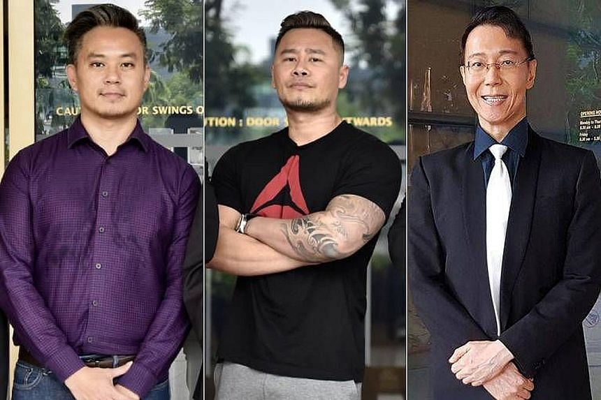 From left: Mr Bryan Choong, former executive director of lesbian, gay, bisexual and transgender (LGBT) non-profit organisation Oogachaga; disc jockey Johnson Ong Ming; and LGBT rights activist and retired medical professional Roy Tan filed three sepa