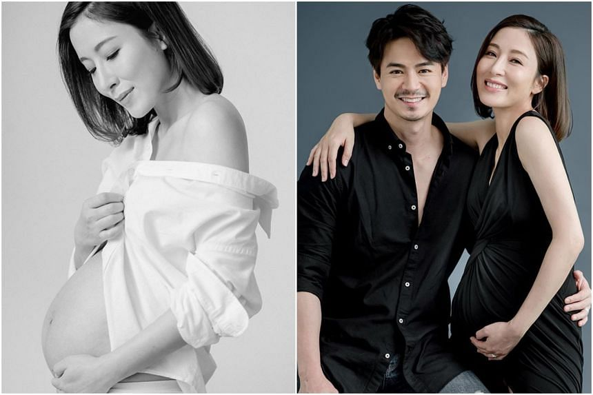 Hong Kong actress Tavia Yeung posted a series of photos showing off her baby bump and one of herself and her husband, actor Him Law.