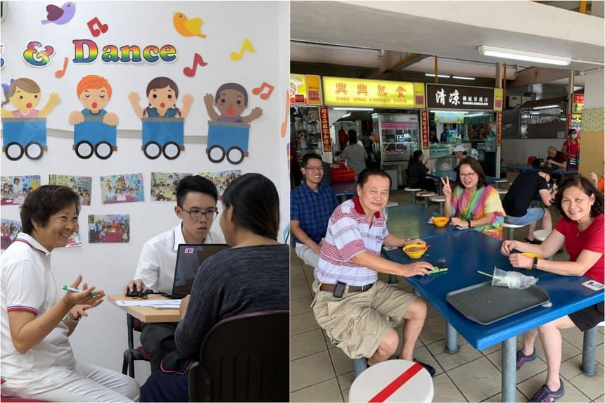 Dr Lee Bee Wah (left) holding her Meet-the-People Session at Block 850 Yishun Street 81 and Workers' Party chairman Sylvia Lim (second from right) and member Gerald Giam (behind, in blue) meeting residents in Aljunied GRC on March 30, 2020.