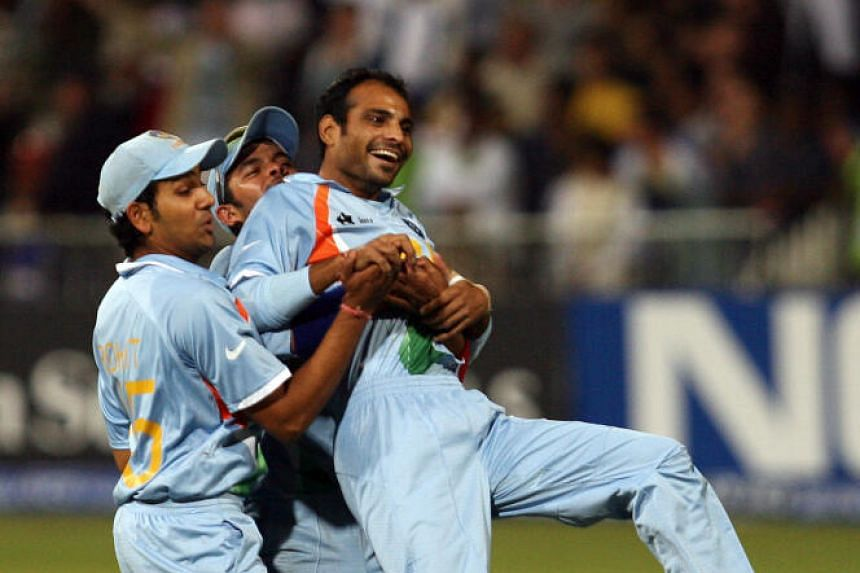 In a file photo taken on Sept 23, 2007, the then Indian cricket team bowler Joginder Sharma (right) celebrates with teammates during the second semi-final of the ICC World Twenty20 at the Kingsmead Cricket Stadium in Durban.