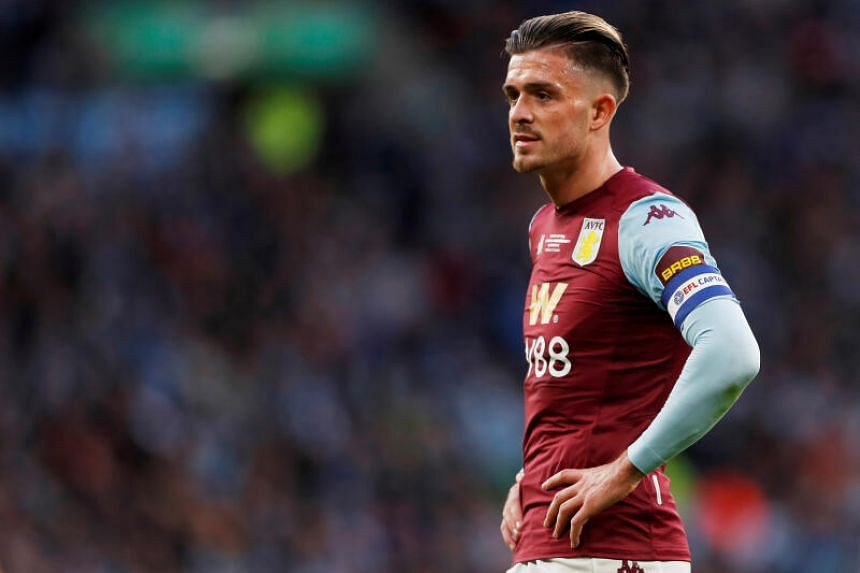In a photo taken on March 1, 2020, Aston Villa's Jack Grealish reacts during the Carabao Cup Final against Manchester City at the Wembley Stadium in London.