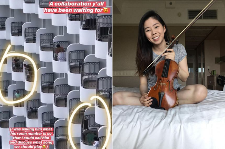 Ms Jaz Loh and a fellow stay-home notice resident set up a live collaboration on the song The Moon Represents My Heart on their balconies at Shangri-La's Rasa Sentosa Resort and Spa.