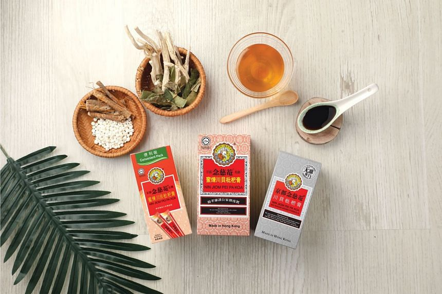 Traditional herbal remedy Nin Jiom Pei Pa Koa comes in the standard formula and No Sugar Added formula, as well as in a Convenient Pack of 10 liquid sachets. PHOTO: NIN JIOM MEDICINE MANUFACTORY (H.K.) LIMITED