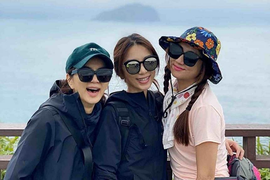 Hebe Tien (centre) turned 37 on March 30 and she went hiking with Selina Jen (right) and Ella Chen in Wangyou Valley in Taiwan's Keelung city.