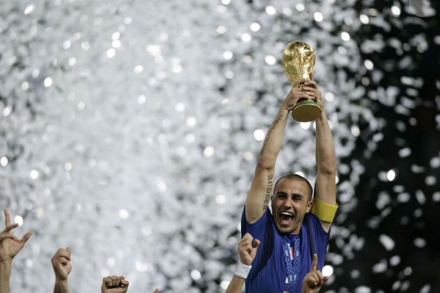 Italy's Fabio Cannavaro lifting the World Cup trophy in Berlin on July 9, 2006.