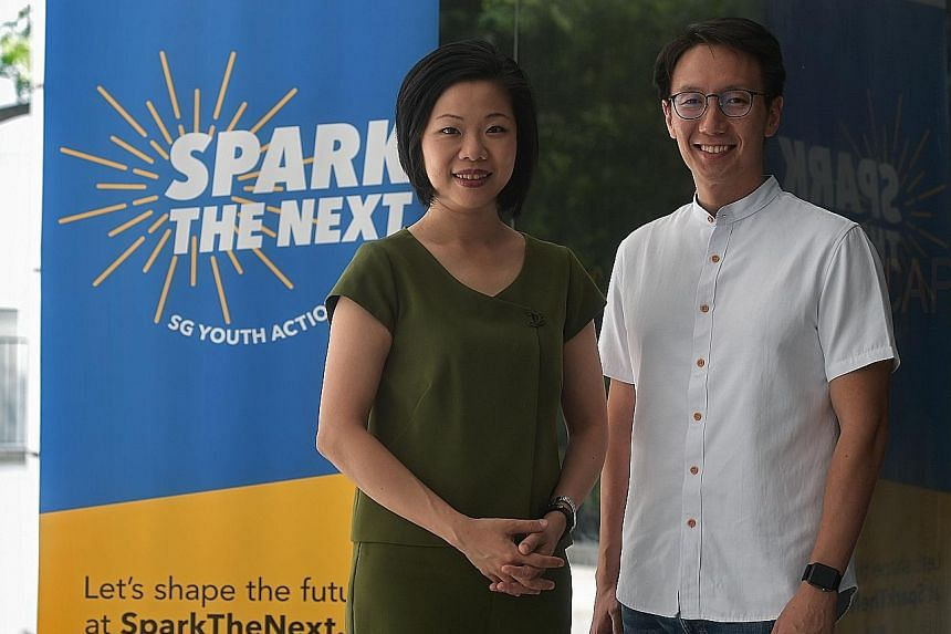Timbre Group co-founder Edward Chia with Senior Minister of State Sim Ann in a photo taken earlier this year. They co-chair the SG Youth Action Plan panel which gets youth to shape their vision for the country. Mr Chia was seen with MP Liang Eng Hwa