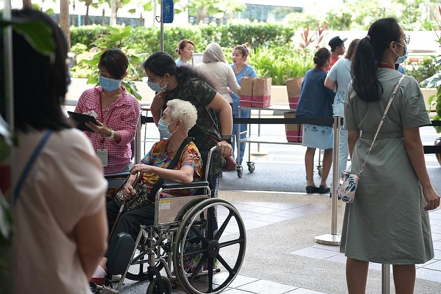 PROTECTING THE ELDERLY: Singaporeans who are unwell have been urged to avoid visiting seniors, as the elderly have shown a higher risk of developing serious conditions when infected. ST PHOTO: KELVIN CHNG SEE TOP OF THE NEWS A4