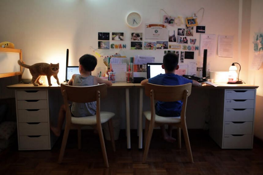 Egon Lee (right) and younger brother Ewan Lee doing their Home Based Learning homework at home on April 1, 2020.