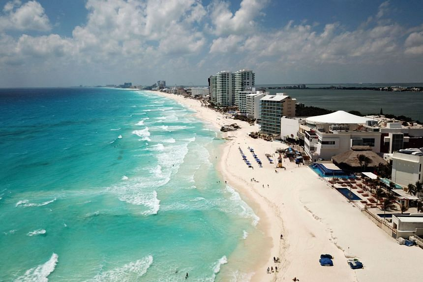 Aerial view of an almost empty beach in Cancun, Mexico, on March 28, 2020.