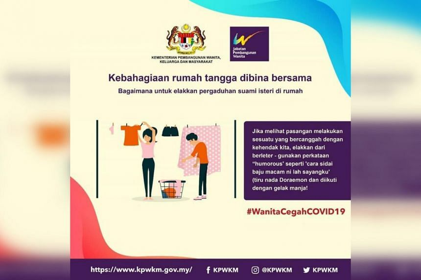 The Malaysian women's ministry offered tips for how wives should behave during the current movement control order period.