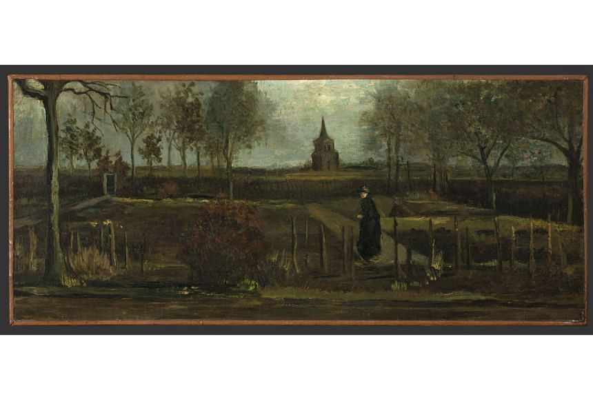Dutch master Vincent van Gogh's 1884 painting, titled The Parsonage Garden At Nuenen In Spring (above), was stolen from the Singer Laren museum (left) near Amsterdam.