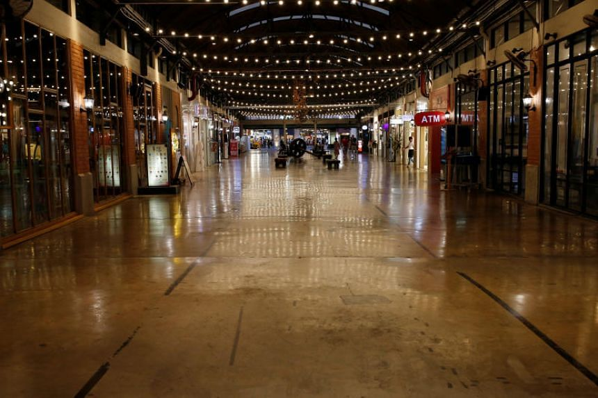Bangkok's Asiatique night market is almost empty on March 2, 2020.