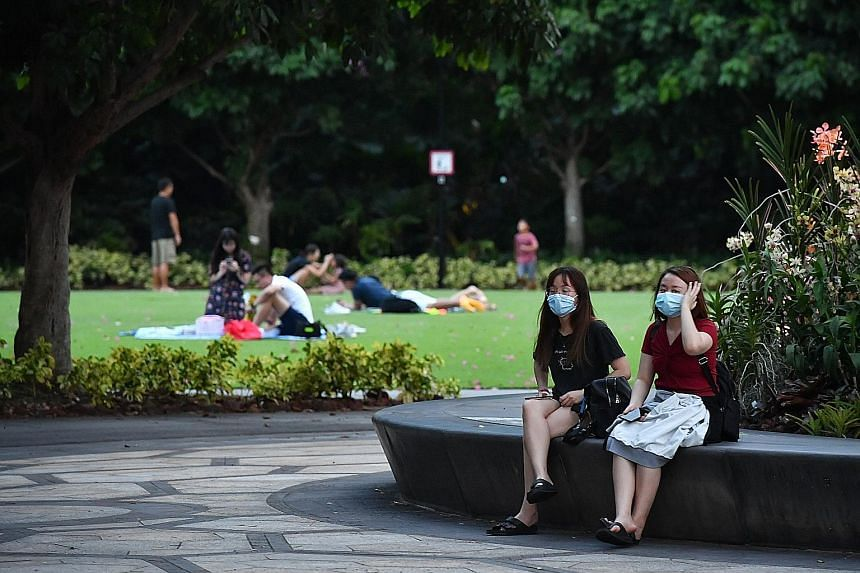 Crowds were thin at Gardens by the Bay at the weekend as Singaporeans practised social distancing.