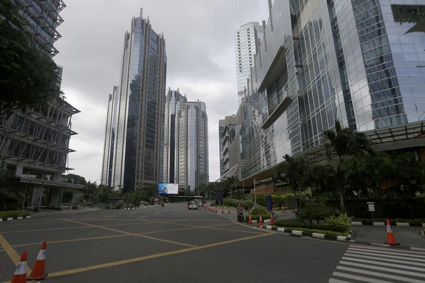 An empty street in Jakarta on March 25, 2020.