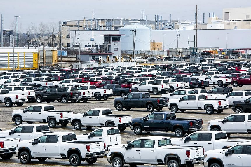 New vehicles at a General Motors' plant that had been shut down in Flint, Michigan, last month. Carmakers and dealers expect a bigger decline in sales this month because stay-at-home orders will be in effect for most or all of the month in many parts