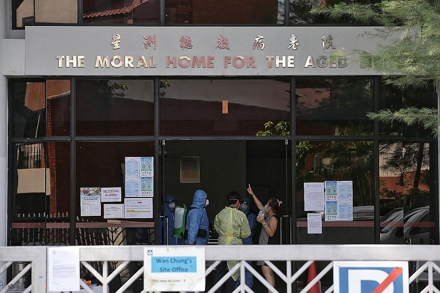 Above: Disinfecting procedures taking place yesterday at the Moral Home for the Aged Sick in Jalan Bilal, where one employee has tested positive for the virus. All nursing homes will not accept visitors until April 30.