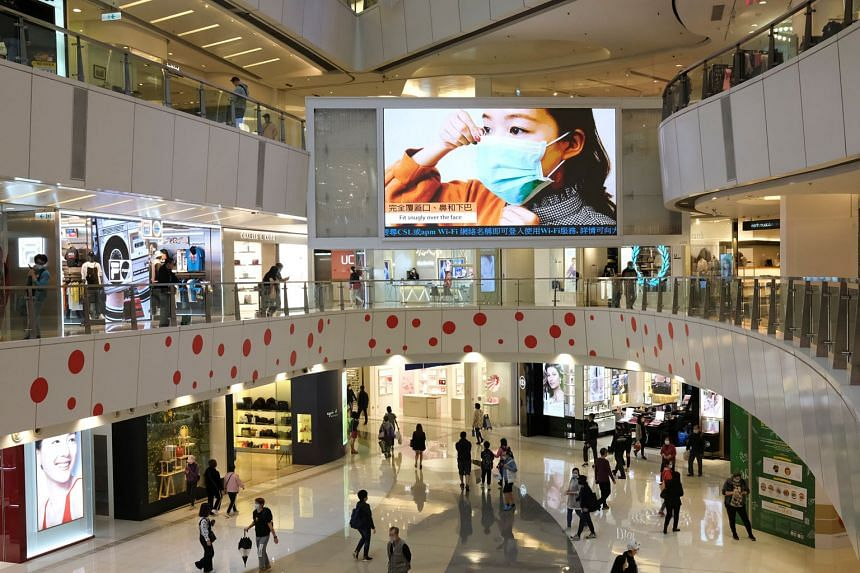 Health advice being broadcast on a big TV screen at a mall in Hong Kong earlier this week. One issue that came up during yesterday's Facebook Watch news event on the spread of the coronavirus in the Asia-Pacific is how the virus can linger in the air