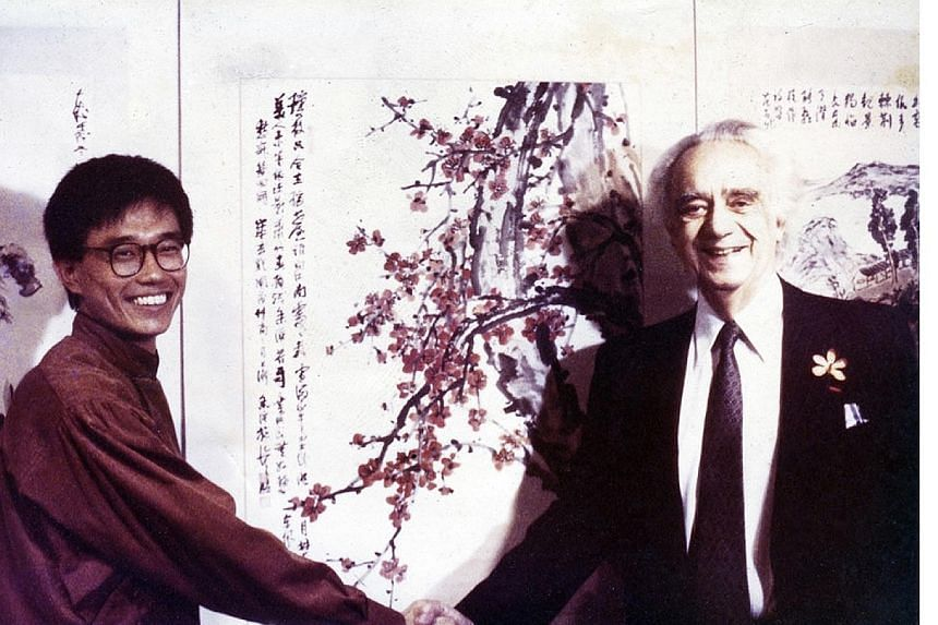 Chen's 1986 solo exhibition in Paris was inaugurated by the late David Marshall, Singapore's then ambassador to France. Artist Henri Chen KeZhan, 61, with his dog Anton, an adopted great dane. Chen's parents initially objected to his pursuing art, bu