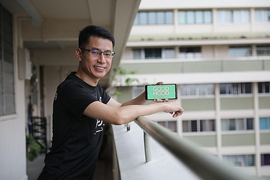 Mr Nigel Teo is one of four people behind the GoodHood.SG app, which enables neighbours to share items and services, either by selling them or donating them. About 80 per cent to 90 per cent of the posts on the app are from people offering help.