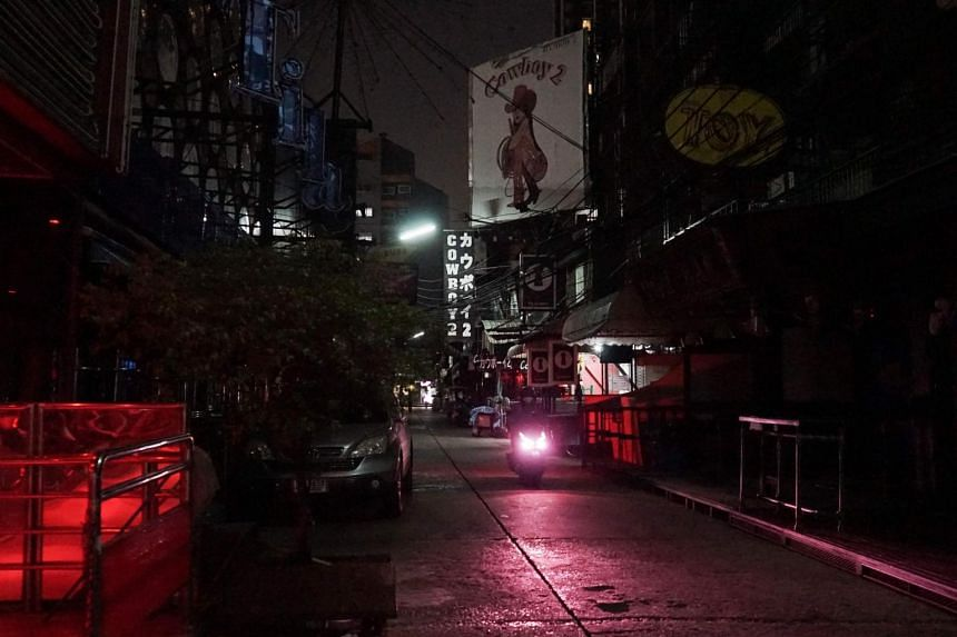 The Soi Cowboy street in Bangkok, a road usually busy with sex workers and customers but now closed for business due to the coronavirus.