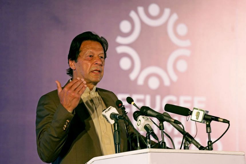 In a photo from Feb 17, 2020, Pakistan's Prime Minister Imran Khan speaks during a conference in Islamabad.