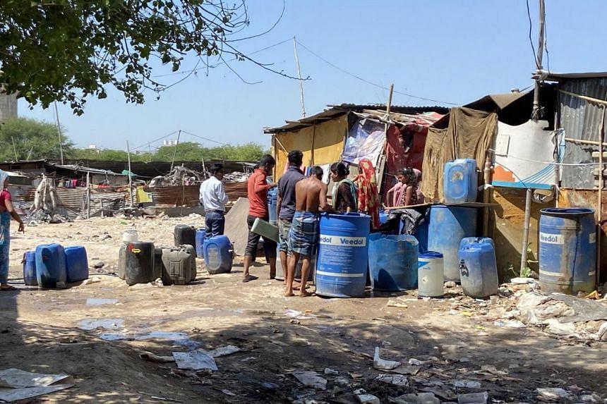 A photo from April 2, 2020, shows Sitti Colony, a slum in Gurugram, a satellite city of New Delhi.