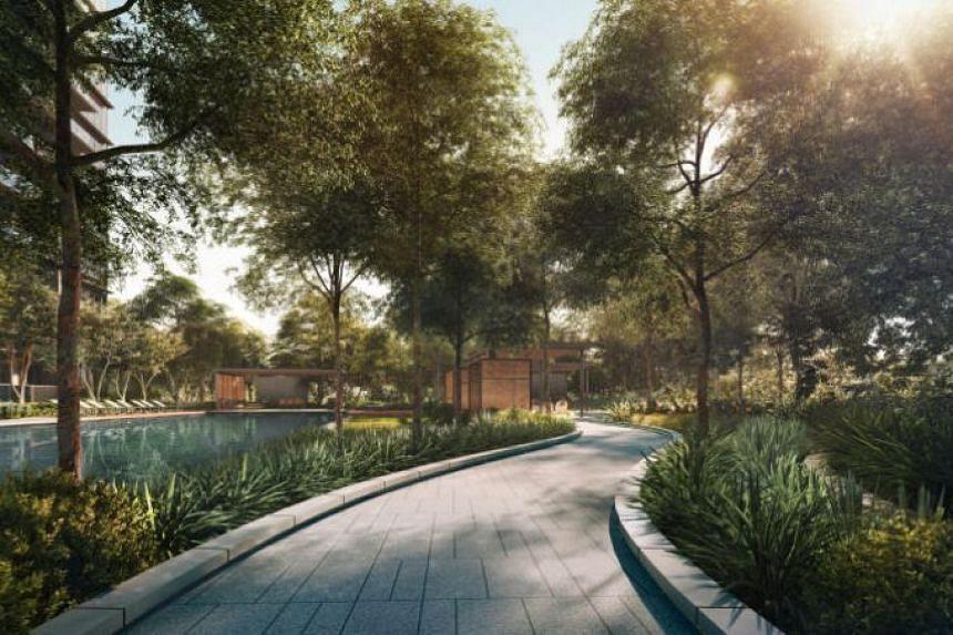 Artist's impression of the forest walk in Kopar At Newton condominium.