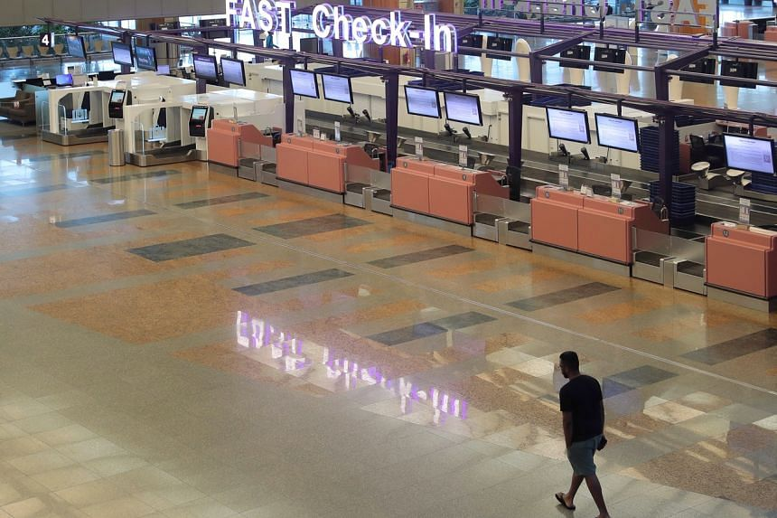 A near-empty Terminal 2 at Changi Airport as seen on March 24, 2020.
