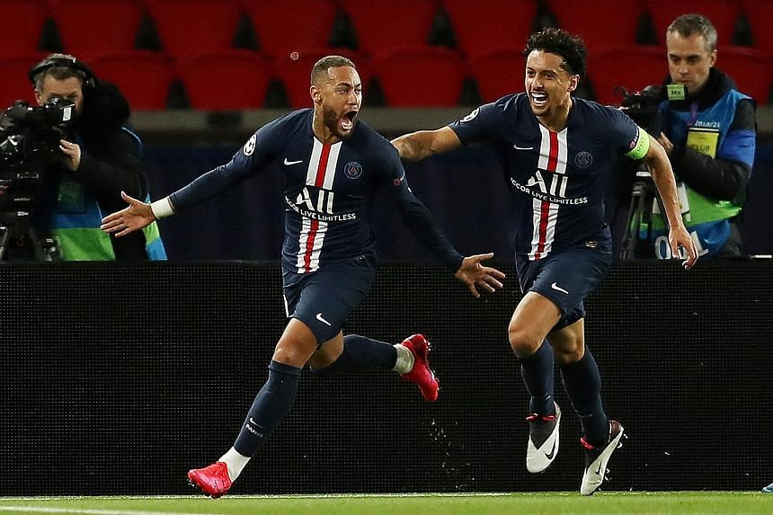 Paris St-Germain striker Neymar celebrating with Marquinhos after scoring the first goal against Dortmund in their Champions League round-of-16 second leg last month. The French side won 3-2 on aggregate but the European tournament has been suspended