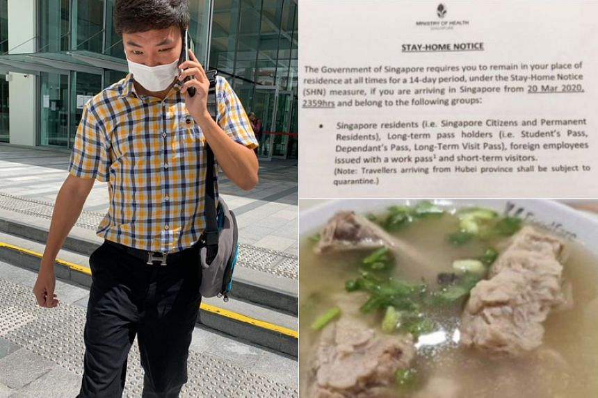 Alan Tham Xiang Sheng had posted on social media photos of his bak kut teh meal while he was supposed to be at home serving his 14-day notice.