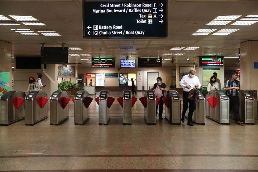 An empty Raffles Place MRT station on April 7, 2020.