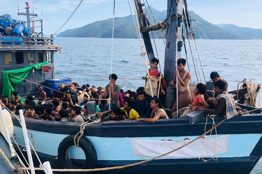 A boat carrying suspected ethnic Rohingya migrants is seen in Langkawi on April 5, 2020.