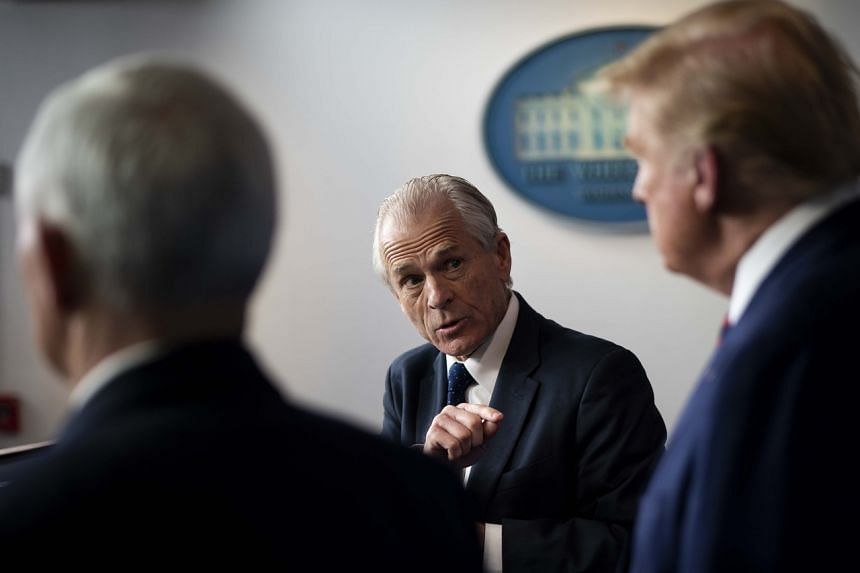 White House trade adviser Peter Navarro gestures while addressing a news conference about the coronavirus response with President Donald Trump, and Vice President Mike Pence, on April 2, 2020.