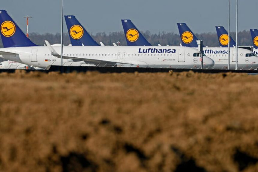 Aircrafts from German air carrier Lufthansa in Germany on April 6, 2020.