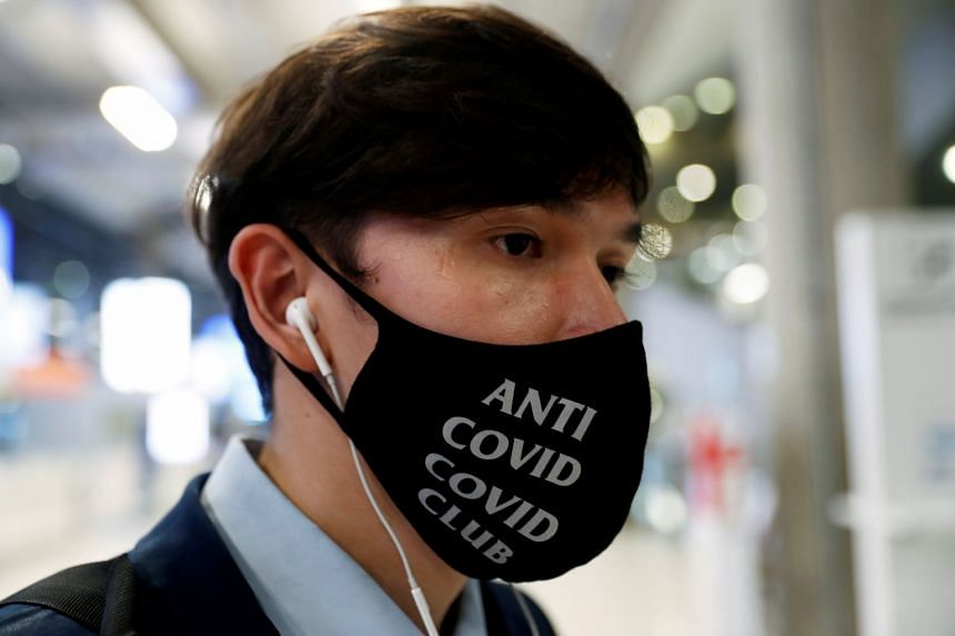 A man wearing a protective mask is seen at Bangkok's Suvarnabhumi International Airport, April 6, 2020.