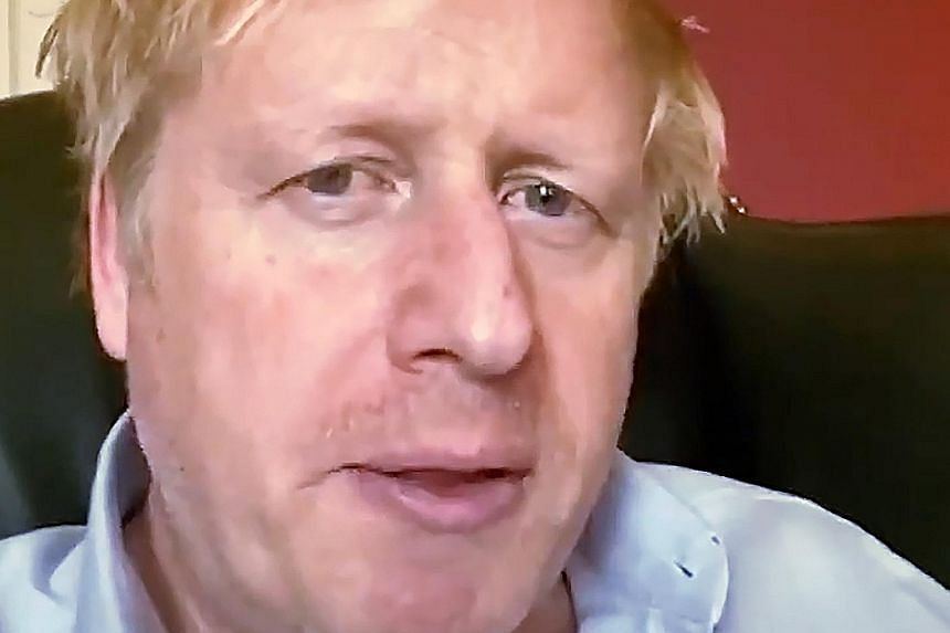 An image from footage released by 10 Downing Street of British Prime Minister Boris Johnson last Friday, before he was admitted to an intensive care unit in hospital. He was first placed under quarantine at his 10 Downing Street official residence on
