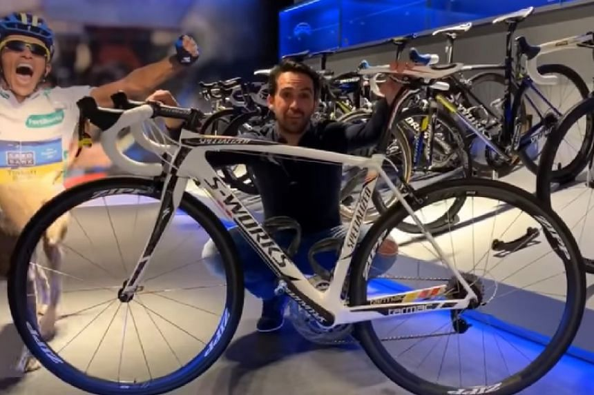 A screenshot from a video posted online by Alberto Contador of him with the 2011 bike.