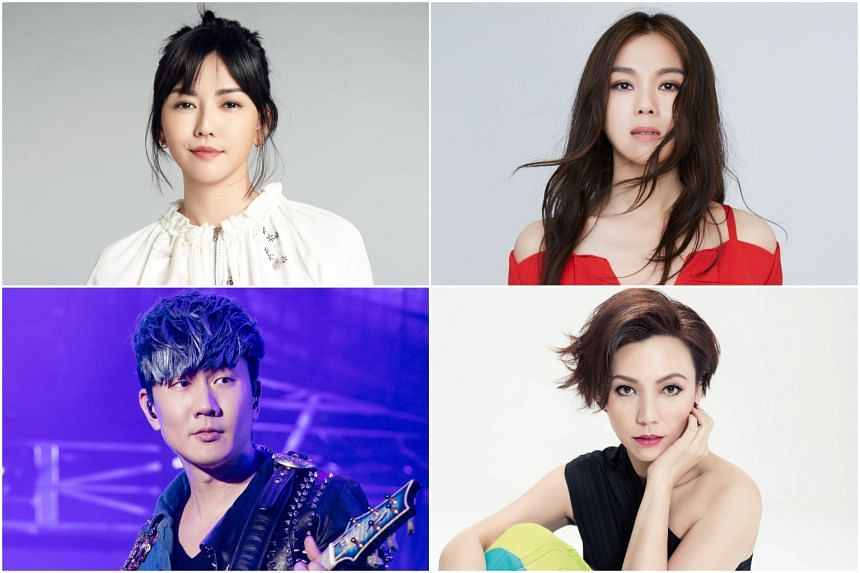 (Clockwise from top left) Stefanie Sun, Tanya Chua, Kit Chan and JJ Lin launched a joint video urging people to stay home.