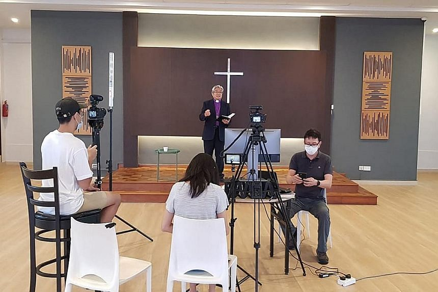 Bishop Chong Chin Chung of The Methodist Church in Singapore recording his Easter message on April 6.