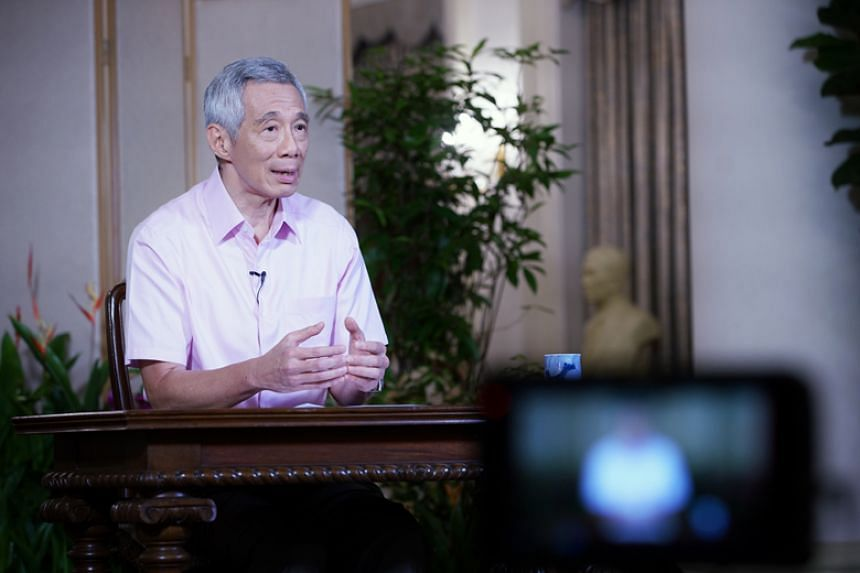 Prime Minister Lee Hsien Loong at the recording of his remarks on the Covid-19 situation.