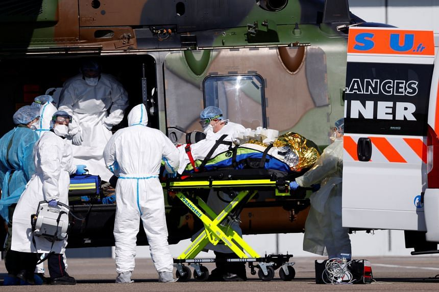 A Covid-19 patient during transfer operations from Strasbourg, France, to Germany on March 30, 2020.