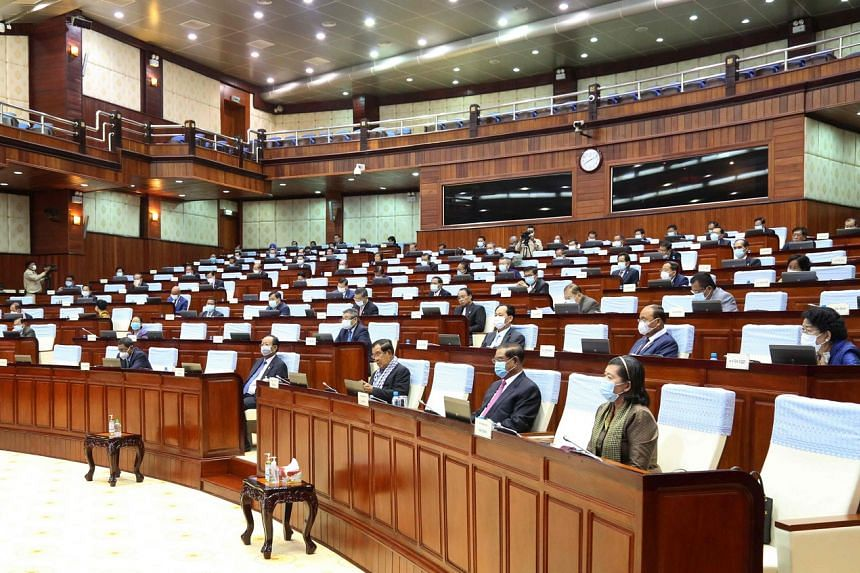 Cambodian lawmakers at the National Assembly on April 10, 2020.