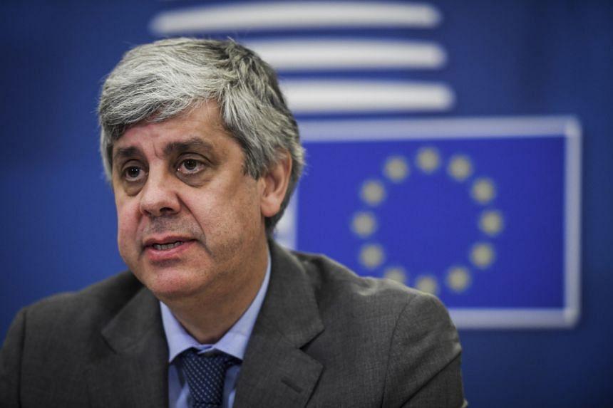 Eurogroup President Mario Centeno gives a press briefing in Lisbon on April 9, 2020.